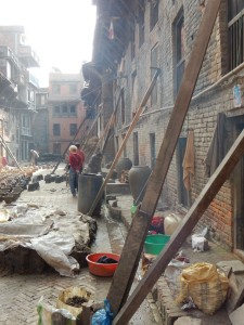 The buildings of Thimi, badly affected by the earthquake, being propped up by beams.